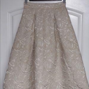 Astr gold ribbed midi skirt